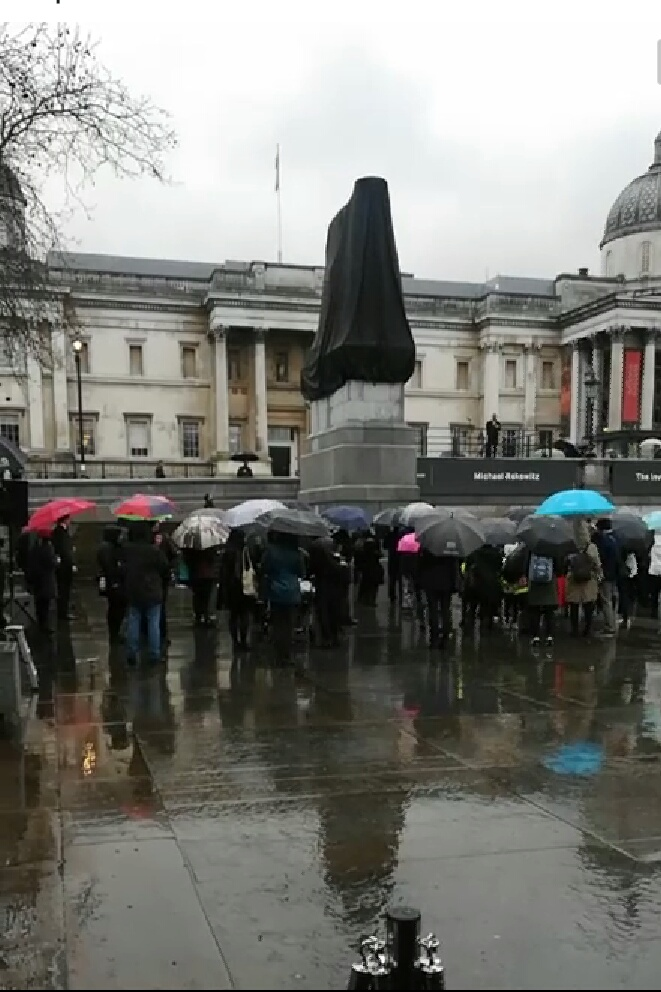 Darth Vader revealed to be on  new plinth at Trafalgar Square