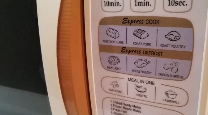 Button pre-sets on microwave for defrosting random stuff never used by anyone, ever